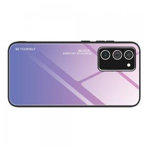 Силиконовый Градиентный Стеклянный Чехол для Samsung Galaxy A72 Розовый / Фиолетовый