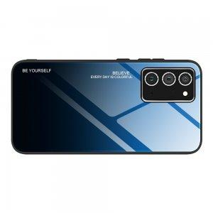 Силиконовый Градиентный Стеклянный Чехол для Samsung Galaxy A72 Синий / Черный