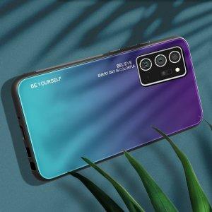 Силиконовый Градиентный Стеклянный Чехол для Samsung Galaxy Note 20 Фиолетовый / Синий