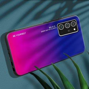 Силиконовый Градиентный Стеклянный Чехол для Samsung Galaxy Note 20 Синий / Розовый