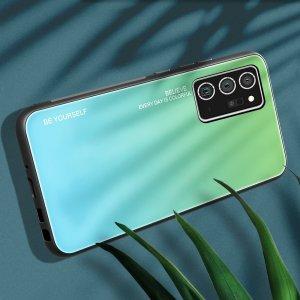 Силиконовый Градиентный Стеклянный Чехол для Samsung Galaxy Note 20 Ultra Зеленый