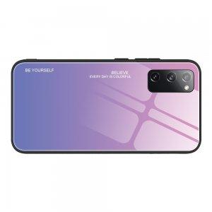 Силиконовый Градиентный Стеклянный Чехол для Samsung Galaxy S20 FE / S20 FE Светло Розовый