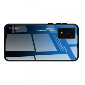 Силиконовый Градиентный Стеклянный Чехол для Samsung Galaxy S20 Ultra Синий / Черный