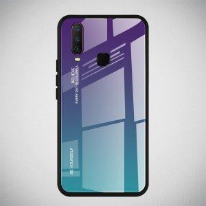 Силиконовый Градиентный Стеклянный Чехол для Vivo Y17 / Y15 / Y12 Синий / Фиолетовый
