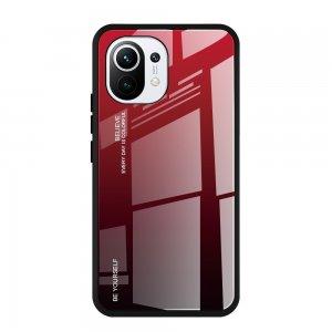 Силиконовый Градиентный Стеклянный Чехол для Xiaomi Mi 11 Красный / Черный