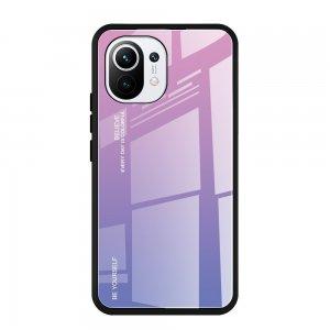 Силиконовый Градиентный Стеклянный Чехол для Xiaomi Mi 11 Розовый / Фиолетовый