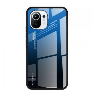 Силиконовый Градиентный Стеклянный Чехол для Xiaomi Mi 11 Синий / Черный
