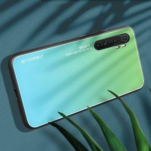 Силиконовый Градиентный Стеклянный Чехол для Xiaomi Mi Note 10 Lite Бирюзовый / Синий