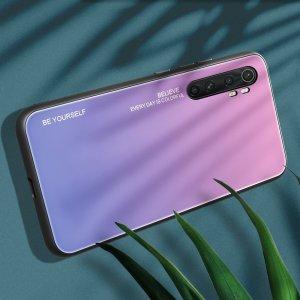Силиконовый Градиентный Стеклянный Чехол для Xiaomi Mi Note 10 Lite Светло Розовый