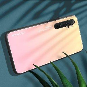 Силиконовый Градиентный Стеклянный Чехол для Xiaomi Mi Note 10 Lite Золотой / Розовый