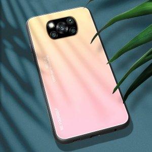 Силиконовый Градиентный Стеклянный Чехол для Xiaomi Poco X3 NFC Золотой / Розовый