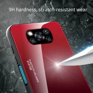 Силиконовый Градиентный Стеклянный Чехол для Xiaomi Poco X3 NFC Синий / Черный