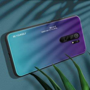Силиконовый Градиентный Стеклянный Чехол для Xiaomi Redmi 9 Фиолетовый