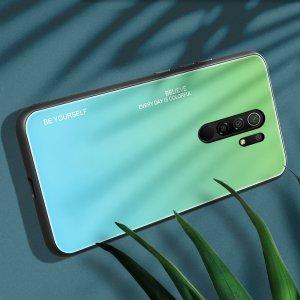 Силиконовый Градиентный Стеклянный Чехол для Xiaomi Redmi 9 Зеленый
