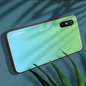 Силиконовый Градиентный Стеклянный Чехол для Xiaomi Redmi 9A Зеленый