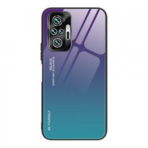 Силиконовый Градиентный Стеклянный Чехол для Xiaomi Redmi Note 10 Pro Фиолетовый / Синий