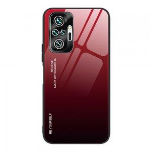 Силиконовый Градиентный Стеклянный Чехол для Xiaomi Redmi Note 10 Pro Красный / Черный
