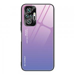 Силиконовый Градиентный Стеклянный Чехол для Xiaomi Redmi Note 10 Pro Розовый / Фиолетовый