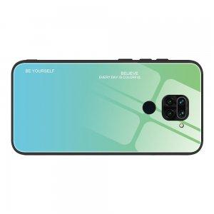 Силиконовый Градиентный Стеклянный Чехол для Xiaomi Redmi Note 9 Бирюзовый / Синий