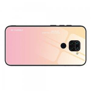 Силиконовый Градиентный Стеклянный Чехол для Xiaomi Redmi Note 9 Золотой / Розовый