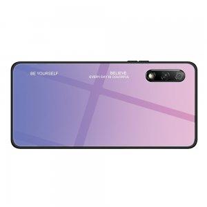 Силиконовый Градиентный Устойчивый к Царапинам Стеклянный Чехол для Huawei Honor 9X / 9X Premium Фиолетовый / Розовый