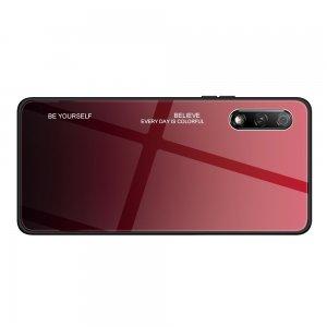 Силиконовый Градиентный Устойчивый к Царапинам Стеклянный Чехол для Huawei Honor 9X / 9X Premium Красный / Черный