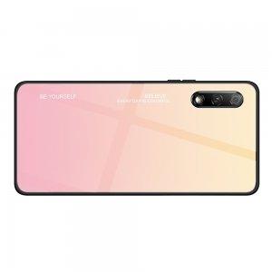 Силиконовый Градиентный Устойчивый к Царапинам Стеклянный Чехол для Huawei Honor 9X / 9X Premium Розовый