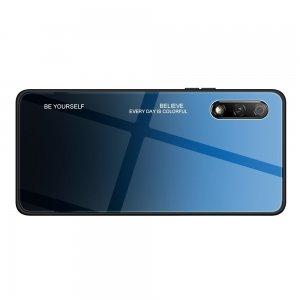 Силиконовый Градиентный Устойчивый к Царапинам Стеклянный Чехол для Huawei Honor 9X / 9X Premium Синий / Черный