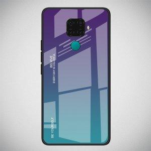 Силиконовый Градиентный Устойчивый к Царапинам Стеклянный Чехол для Huawei Mate 30 Lite Фиолетовый / Голубой