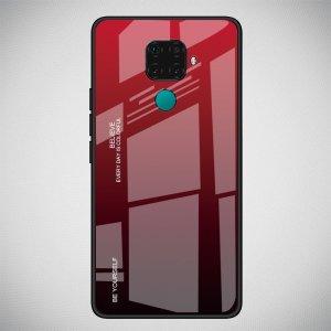 Силиконовый Градиентный Устойчивый к Царапинам Стеклянный Чехол для Huawei Mate 30 Lite Красный / Черный