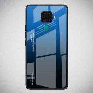 Силиконовый Градиентный Устойчивый к Царапинам Стеклянный Чехол для Huawei Mate 30 Lite Синий / Черный