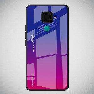 Силиконовый Градиентный Устойчивый к Царапинам Стеклянный Чехол для Huawei Mate 30 Lite Синий / Фиолетовый