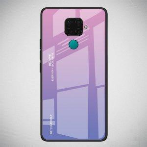Силиконовый Градиентный Устойчивый к Царапинам Стеклянный Чехол для Huawei Mate 30 Lite Темно Синий / Розовый