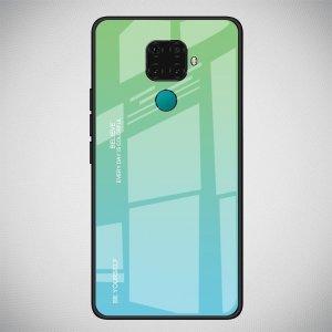Силиконовый Градиентный Устойчивый к Царапинам Стеклянный Чехол для Huawei Mate 30 Lite Зеленый / Синий