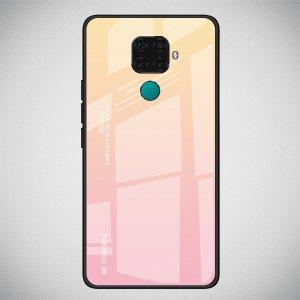 Силиконовый Градиентный Устойчивый к Царапинам Стеклянный Чехол для Huawei Mate 30 Lite Золотой / Розовый