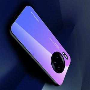 Силиконовый Градиентный Устойчивый к Царапинам Стеклянный Чехол для Huawei Mate 30 Pro Фиолетовый / Розовый