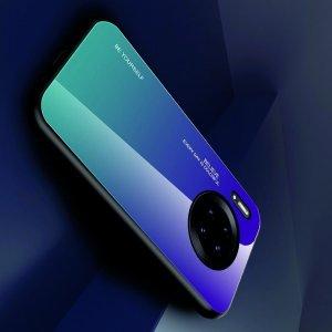 Силиконовый Градиентный Устойчивый к Царапинам Стеклянный Чехол для Huawei Mate 30 Pro Фиолетовый / Синий