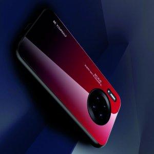 Силиконовый Градиентный Устойчивый к Царапинам Стеклянный Чехол для Huawei Mate 30 Pro Красный / Черный