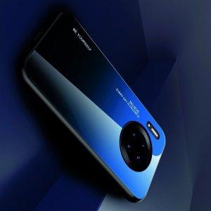 Силиконовый Градиентный Устойчивый к Царапинам Стеклянный Чехол для Huawei Mate 30 Pro Синий / Черный