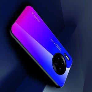 Силиконовый Градиентный Устойчивый к Царапинам Стеклянный Чехол для Huawei Mate 30 Pro Синий / Розовый