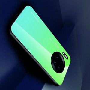 Силиконовый Градиентный Устойчивый к Царапинам Стеклянный Чехол для Huawei Mate 30 Pro Зеленый