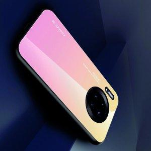 Силиконовый Градиентный Устойчивый к Царапинам Стеклянный Чехол для Huawei Mate 30 Pro Золотой