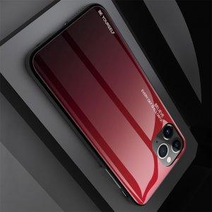 Силиконовый Градиентный Устойчивый к Царапинам Стеклянный Чехол для iPhone 11 Pro Красный / Черный