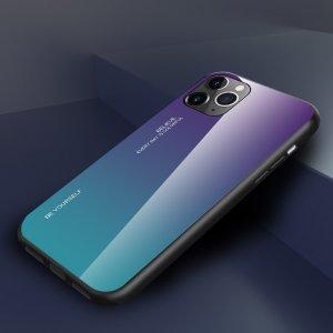 Силиконовый Градиентный Устойчивый к Царапинам Стеклянный Чехол для iPhone 11 Pro Max Фиолетовый / Синий