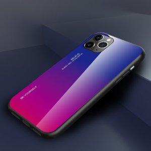 Силиконовый Градиентный Устойчивый к Царапинам Стеклянный Чехол для iPhone 11 Pro Max Синий / Розовый