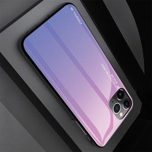 Силиконовый Градиентный Устойчивый к Царапинам Стеклянный Чехол для iPhone 11 Pro Розовый