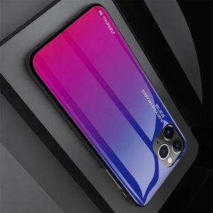 Силиконовый Градиентный Устойчивый к Царапинам Стеклянный Чехол для iPhone 11 Pro Синий / Розовый