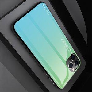 Силиконовый Градиентный Устойчивый к Царапинам Стеклянный Чехол для iPhone 11 Pro Зеленый / Синий