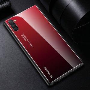 Силиконовый Градиентный Устойчивый к Царапинам Стеклянный Чехол для Samsung Galaxy Note 10 Красный / Черный