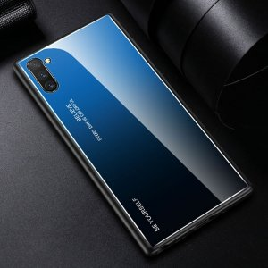 Силиконовый Градиентный Устойчивый к Царапинам Стеклянный Чехол для Samsung Galaxy Note 10 Синий / Черный